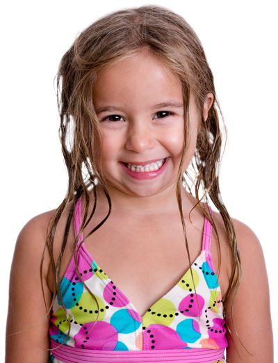 Girl in bathing suit at premier swim academy